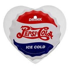 Pepsi Cola Bottle Cap Style Metal Heart Ornament (two Sides)