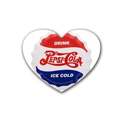 Pepsi Cola Bottle Cap Style Metal Heart Coaster (4 Pack)