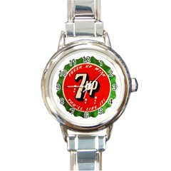 Fresh Up With  7 Up Bottle Cap Tin Metal Round Italian Charm Watch