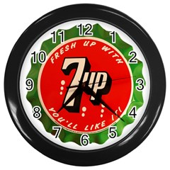 Fresh Up With  7 Up Bottle Cap Tin Metal Wall Clocks (black)