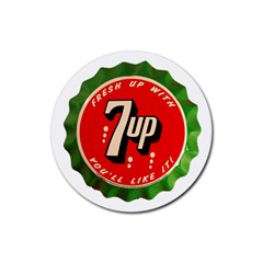 Fresh Up With  7 Up Bottle Cap Tin Metal Rubber Coaster (round)