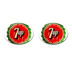 Fresh Up With  7 Up Bottle Cap Tin Metal Cufflinks (oval)