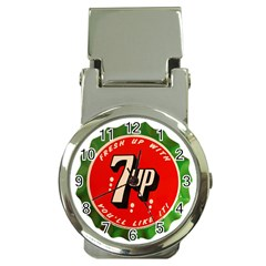Fresh Up With  7 Up Bottle Cap Tin Metal Money Clip Watches