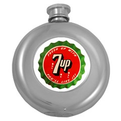 Fresh Up With  7 Up Bottle Cap Tin Metal Round Hip Flask (5 Oz)