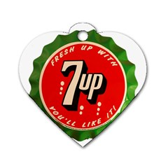 Fresh Up With  7 Up Bottle Cap Tin Metal Dog Tag Heart (one Side)