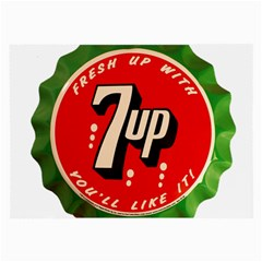 Fresh Up With  7 Up Bottle Cap Tin Metal Large Glasses Cloth