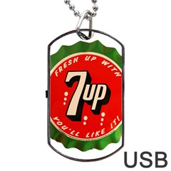 Fresh Up With  7 Up Bottle Cap Tin Metal Dog Tag Usb Flash (two Sides)