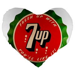 Fresh Up With  7 Up Bottle Cap Tin Metal Large 19  Premium Heart Shape Cushions