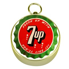 Fresh Up With  7 Up Bottle Cap Tin Metal Gold Compasses