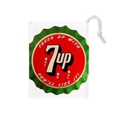 Fresh Up With  7 Up Bottle Cap Tin Metal Drawstring Pouches (medium)