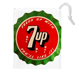 Fresh Up With  7 Up Bottle Cap Tin Metal Drawstring Pouches (xxl)