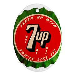 Fresh Up With  7 Up Bottle Cap Tin Metal Ornament (oval)