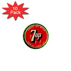 Fresh Up With  7 Up Bottle Cap Tin Metal 1  Mini Buttons (10 Pack)