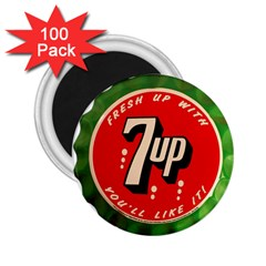 Fresh Up With  7 Up Bottle Cap Tin Metal 2 25  Magnets (100 Pack)