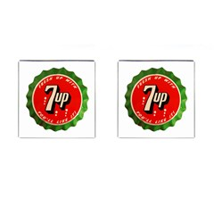 Fresh Up With  7 Up Bottle Cap Tin Metal Cufflinks (square)
