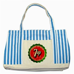Fresh Up With  7 Up Bottle Cap Tin Metal Striped Blue Tote Bag