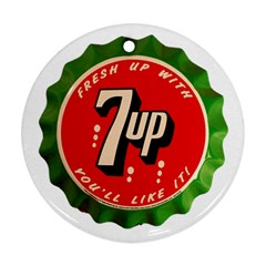Fresh Up With  7 Up Bottle Cap Tin Metal Round Ornament (two Sides)