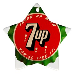 Fresh Up With  7 Up Bottle Cap Tin Metal Star Ornament (two Sides)
