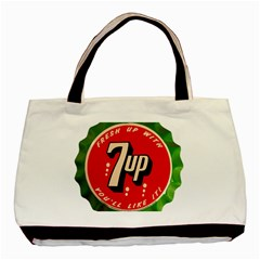 Fresh Up With  7 Up Bottle Cap Tin Metal Basic Tote Bag (two Sides)