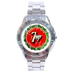 Fresh Up With  7 Up Bottle Cap Tin Metal Stainless Steel Analogue Watch