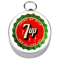 Fresh Up With  7 Up Bottle Cap Tin Metal Silver Compasses