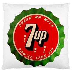 Fresh Up With  7 Up Bottle Cap Tin Metal Large Flano Cushion Case (one Side)