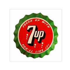 Fresh Up With  7 Up Bottle Cap Tin Metal Small Satin Scarf (square)