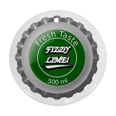 Fresh Taste Fizzy Lime Bottle Cap Ornament (round)