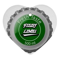 Fresh Taste Fizzy Lime Bottle Cap Ornament (heart)