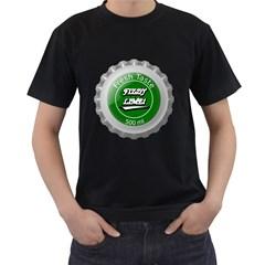 Fresh Taste Fizzy Lime Bottle Cap Men s T Shirt (black) (two Sided)