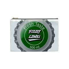 Fresh Taste Fizzy Lime Bottle Cap Cosmetic Bag (medium)