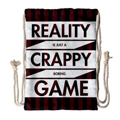 Reality Is Just A Crappy  Boring Game Drawstring Bag (large)