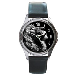 Male Lion Face Round Metal Watch