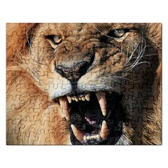 Male Lion Angry Rectangular Jigsaw Puzzl