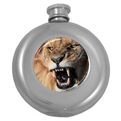 Male Lion Angry Round Hip Flask (5 Oz)