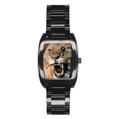Male Lion Angry Stainless Steel Barrel Watch