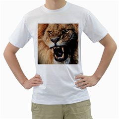 Male Lion Angry Men s T Shirt (white)