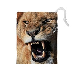 Male Lion Angry Drawstring Pouches (large)