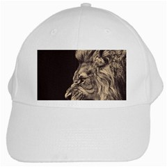 Angry Male Lion White Cap