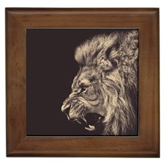 Angry Male Lion Framed Tiles