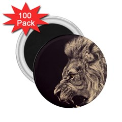 Angry Male Lion 2 25  Magnets (100 Pack)