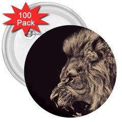 Angry Male Lion 3  Buttons (100 Pack)