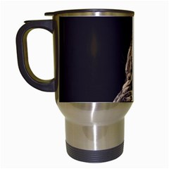 Angry Male Lion Travel Mugs (white)