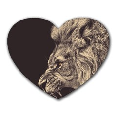 Angry Male Lion Heart Mousepads