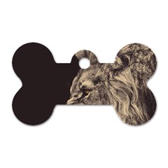 Angry Male Lion Dog Tag Bone (one Side)