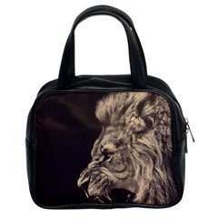 Angry Male Lion Classic Handbags (2 Sides)