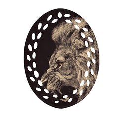 Angry Male Lion Oval Filigree Ornament (two Sides)