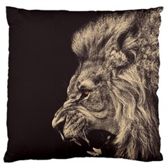 Angry Male Lion Large Cushion Case (one Side)