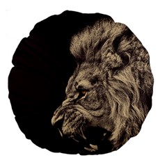 Angry Male Lion Large 18  Premium Round Cushions