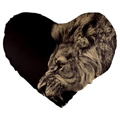 Angry Male Lion Large 19  Premium Heart Shape Cushions